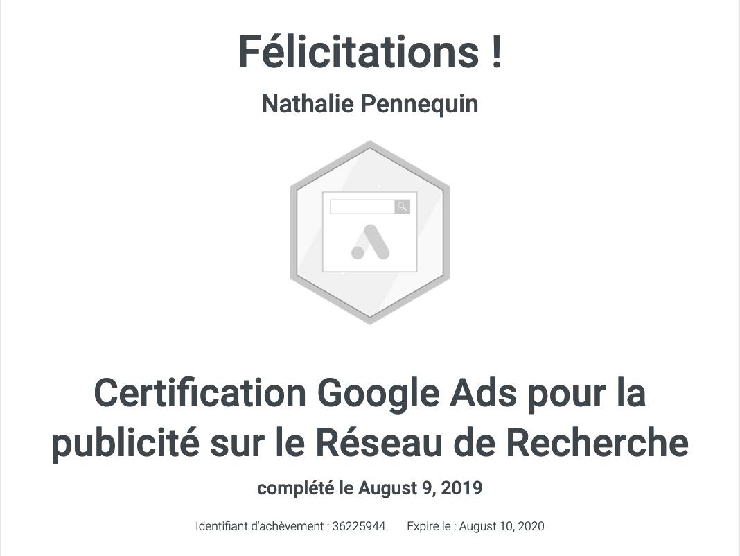 Certifiée Google Ads