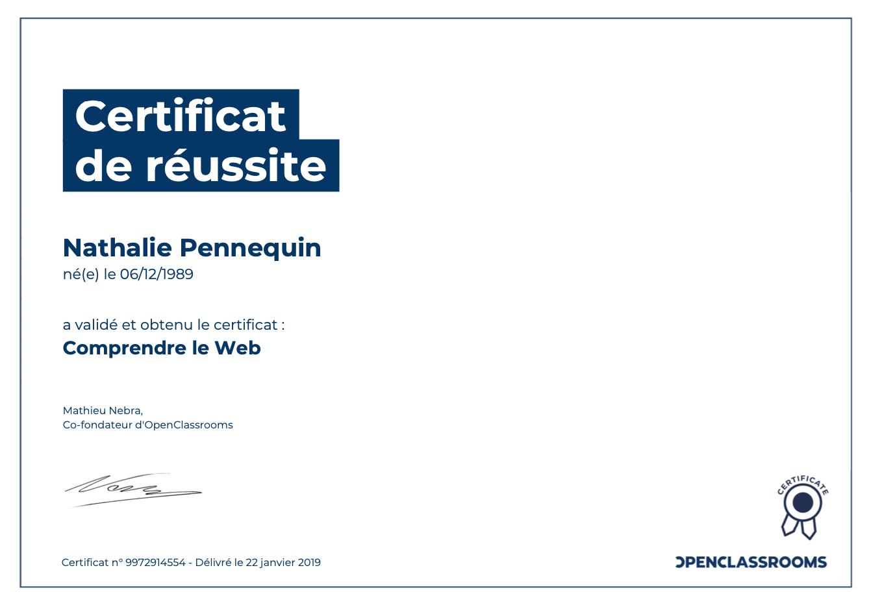 Comprendre le Web certification