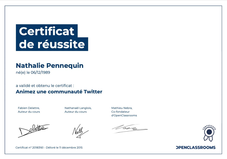 Animer Twitter - certification